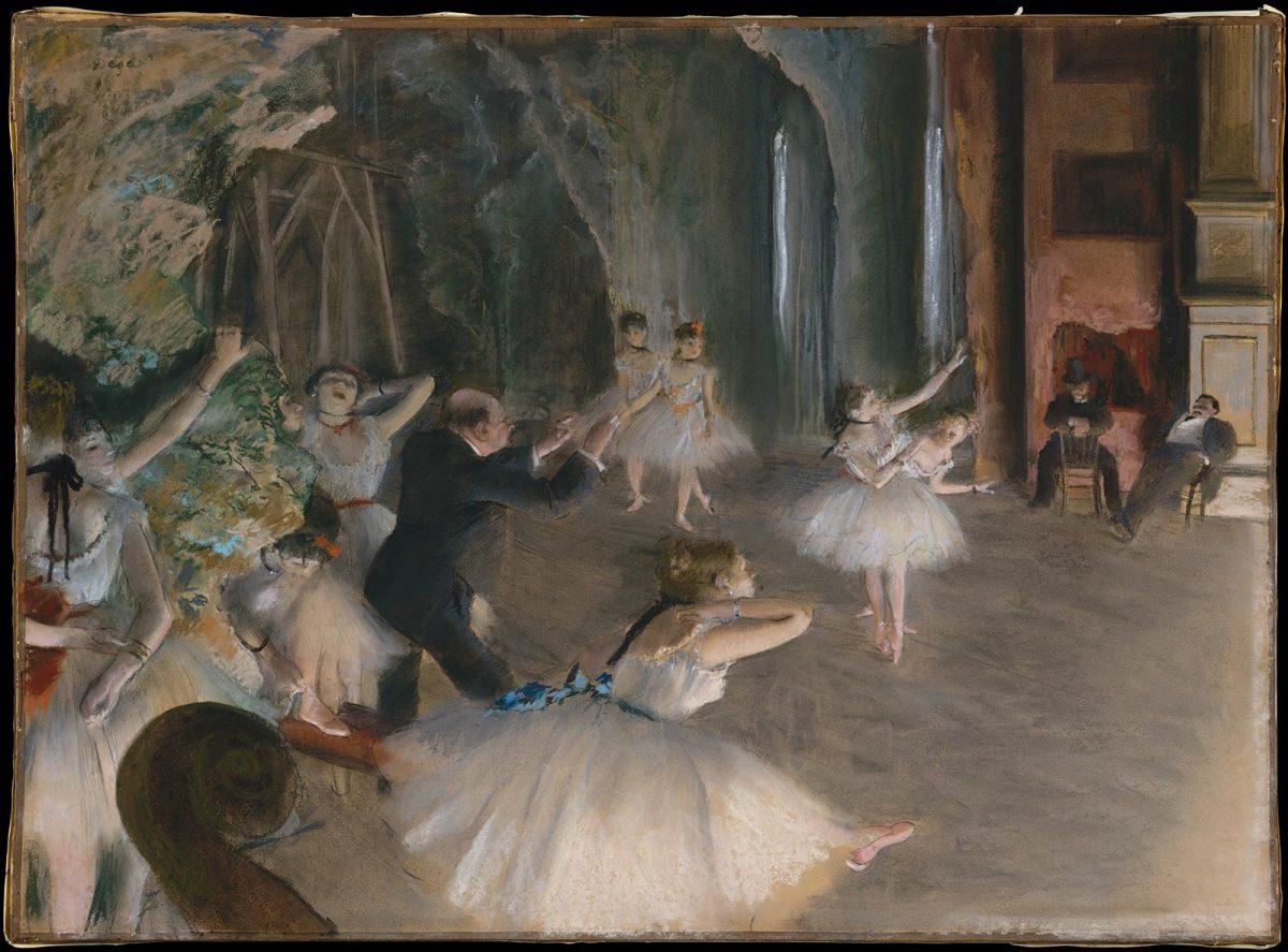 Peinture d'Edgar Degas : répétition d'un ballet sur scène - impressionnisme