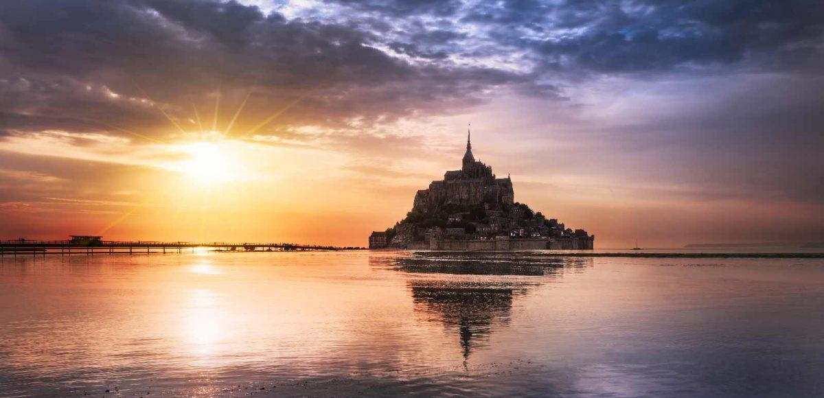 Coucher de soleil au Mont-Saint-Michel