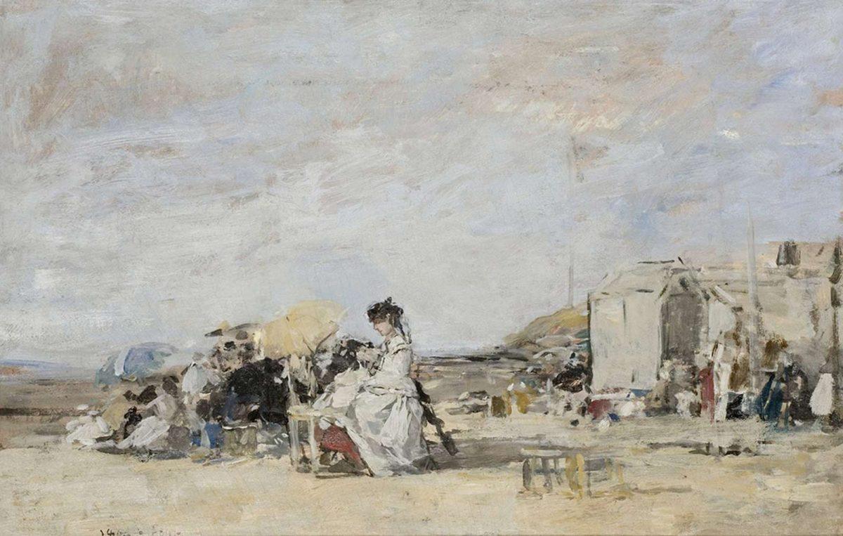 Tableau du peintre Eugène Boudin, la dame en blanc sur la plage de Trouville