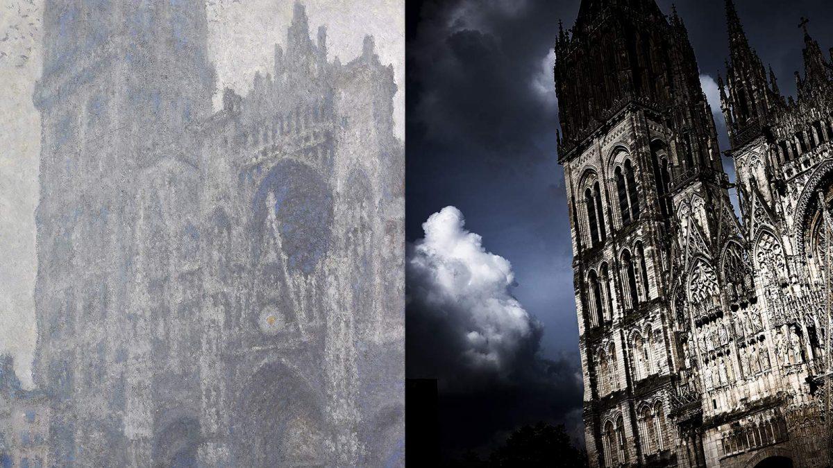 Diptyquela Cathédrale de Rouen, le Portail de la Tour d'Albane, temps gris, 1894 et instant de bonheur Rouen Normandie