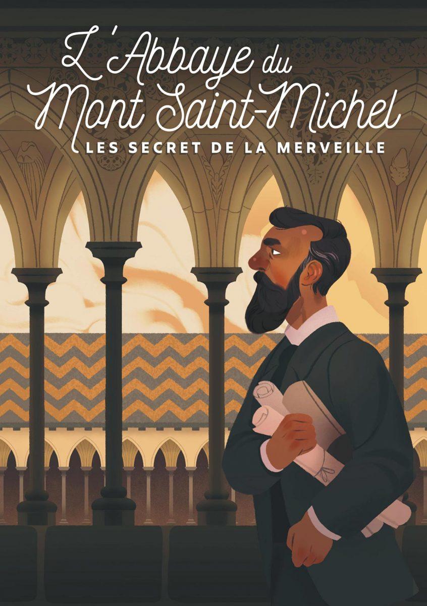 L'affiche de l'application timetravel à l'abbaye du Mont-Saint-Michel