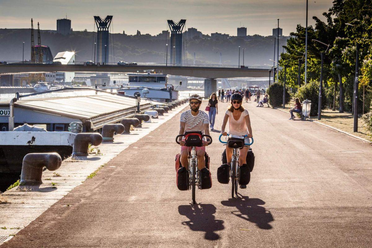 Rouen, sur l'itinéraire la Seine à vélo