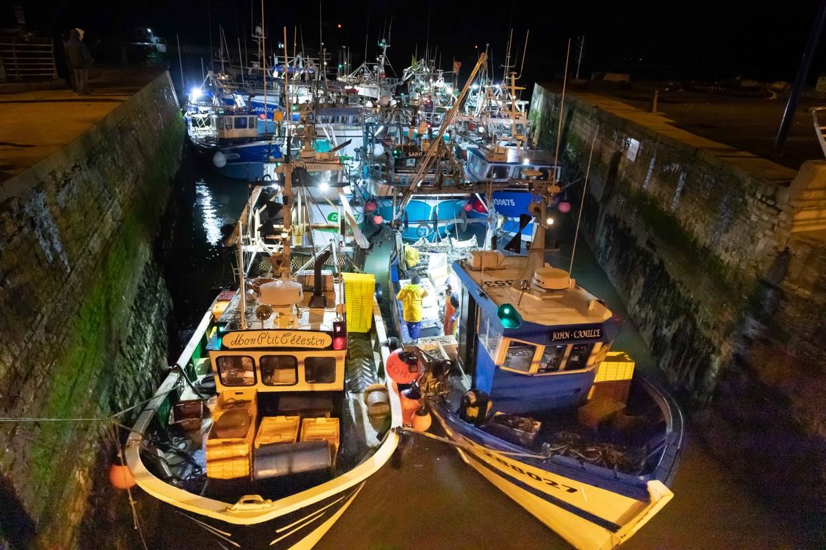 Retour des bâteaux de pêche à Port-en-Bessin