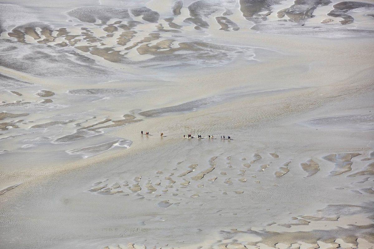 Traversée avec un guide en baie du Mont-Saint-Michel, vue du ciel
