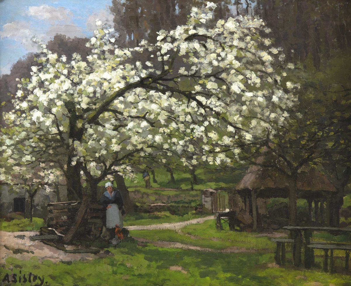 Alfred Sisley : Printemps, paysanne sous les arbres en fleurs